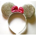 Cintillo Minnie Tela Brillo Plata